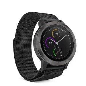 Garmin Vivoactive 3 Replacement Wristband Milanese Stainless Steel Watch Wrist Band Bracelet Kit Loop Strap Black