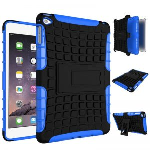 Apple iPad Mini 4 Rugged Case Shockproof Heavy Duty Protective Cover (Blue)