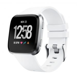Fitbit Versa 2 Lite Silicone Wristband Adjustable Silicone Rubber Watch Band Kit (White)