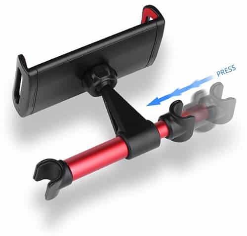 360° Rotation Car Headrest Mount, Phone Tablet Car Headrest Grip Mount Stand Cradle Bracket Holder for iPad/ Samsung Galaxy Tab