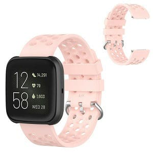 Fitbit Versa 2 Lite Silicone Wristband Adjustable Silicone Rubber Watch Band Kit (Sports Rose Gold )