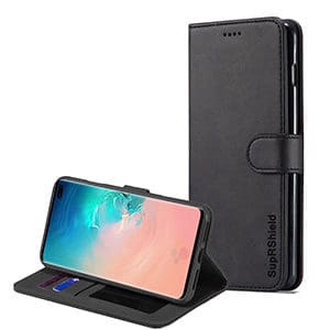Samsung Galaxy S10 Plus Wallet Leather Card Holder Flip Case Cover (Black)