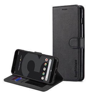 Google Pixel 3 Genuine SupRShield Wallet Leather Flip Stand Magnetic Case Cover (Black)