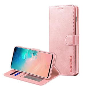 Samsung Galaxy S10 Plus Wallet Leather Card Holder Flip Case Cover (Rose Gold)