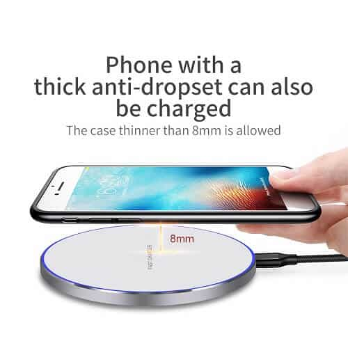 15W Qi Wireless Fast Charging Charger Pad for Apple iPhone Samsung Galaxy Google Oppo Huawei LG (White)