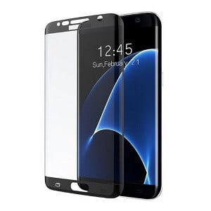 Samsung Galaxy S7 Edge Screen Protector Full Cover Tempered Glass Guard (Black)