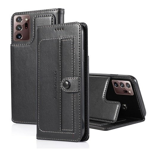 Samsung Galaxy Note 20 Ultra Luxury Wallet Case Flip Leather Card Slots Cover (Black)
