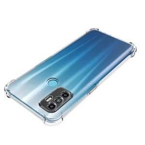 Oppo A53 Clear Case Shockproof Tough Gel Clear Transparent Air Cushion Heavy Duty Cover (Crystal Clear).