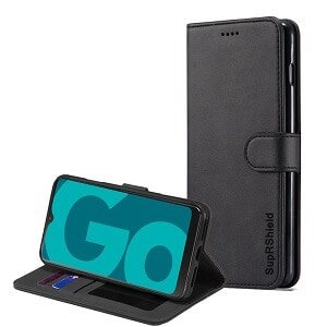For Optus X Go SupRShield Wallet Leather Card Holder Flip Protective Shockproof Magnetic Case Cover (Black)