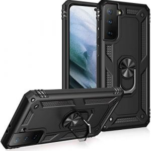 Samsung Galaxy S21 Anti Scratch Rugged Magnetic Car Mount Ring Shockproof Heavy Duty Case Cover (Black)