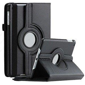 Galaxy Tab S5E Rotating Folio Leather Case Cover (Black)