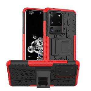 Samsung Galaxy S20 Ultra Heavy Duty Case Shockproof Rugged Protective Cover (Red)
