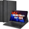Samsung Galaxy Tab S7 Plus 12.4 inch SM-T970 T976B Detachable Wireless Bluetooth Keyboard Case, Lightweight Protective Slim Folio Leather Smart Cover (Black)