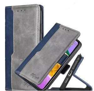 LG K52 Wallet Leather Flip Case Shockproof Magnetic Card Slots Cover (Navy BlueGrey)
