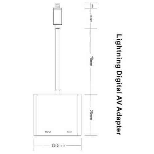 Lightning to Digital AV Adapter HDMI Adapter 1080P Lightning Charging Port For Apple iPhone iPad iPod (White)