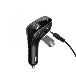 Baseus Car FM Transmitter Bluetooth 5.0 AUX Handsfree Wireless Car Kit Dual USB Car Charger Auto Radio FM Modulator MP3 Player