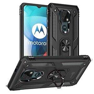 Motorola Moto E7 Anti Scratch Rugged Magnetic Car Mount Ring Shockproof Heavy Duty Cover (Black)