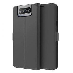 Asus ZenFone 8 Flip Wallet Case Bumper Back Protective Protection Card Retro Leather Cover (Black)