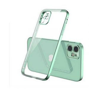 Apple iPhone 11 Clear Case Luxury Plating Transparent Hard PC Back Cover (Light Green)