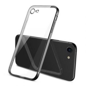 Apple iPhone 7 Clear Case Luxury Plating Transparent Hard PC Back Cover (Black)