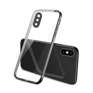Apple iPhone X XS Clear Case Luxury Plating Transparent Hard PC Back Cover (Black)..