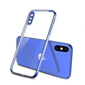 Apple iPhone X XS Clear Case Luxury Plating Transparent Hard PC Back Cover (Blue)