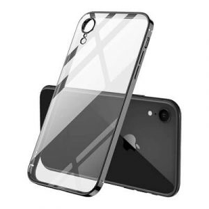Apple iPhone XR Clear Case Luxury Plating Transparent Hard PC Back Cover (Black).