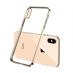 Apple iPhone XS Max Clear Case Luxury Plating Transparent Hard PC Back Cover (Gold)