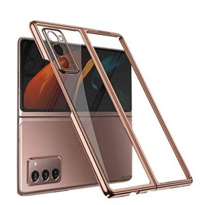 Samsung Galaxy Z Fold 2 5G Clear Case Luxury Plating Transparent Hard PC Back Cover (Rose Gold)
