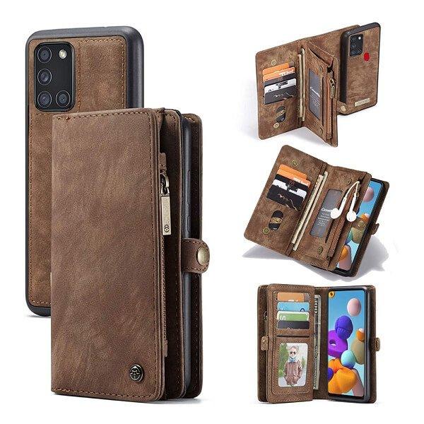 Brown Zipper & Detachable Pouch Wallet Flip Wallet Case