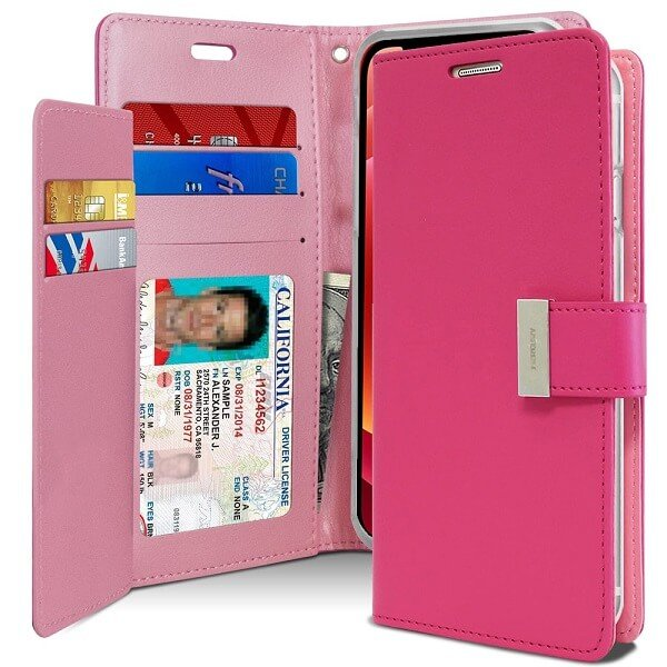 Goospery iPhone 12 Mini Rich Diary Hot Pink Wallet Case