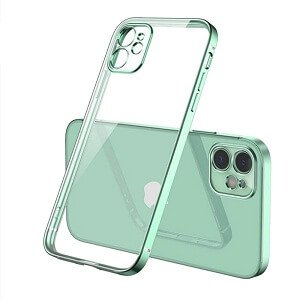 Apple iPhone 12 Clear Gel Case Luxury Plating Transparent Hard PC Back Cover (Light Green)