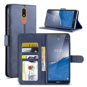 Nokia C3 Wallet Case Flip Leather Magnetic Stand Shockproof Cover (Navy Blue)