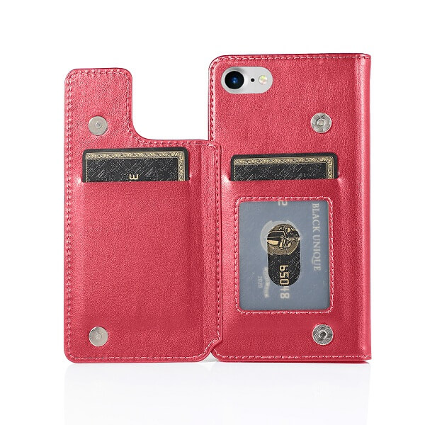 Apple iPhone 8 Wallet Case Flip Leather Card Slots Magnetic Stand Cover (Hot Pink)