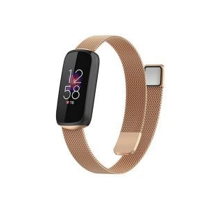 Fitbit Luxe Stainless Steel Milanese Wristband Adjustable Smart Watch Wrist Band Kit Loop Strap (Rose Gold)
