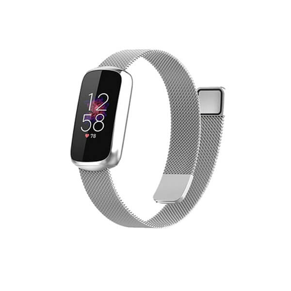 Fitbit Luxe Stainless Steel Milanese Wristband Adjustable Smart Watch Wrist Band Kit Loop Strap (Silver)