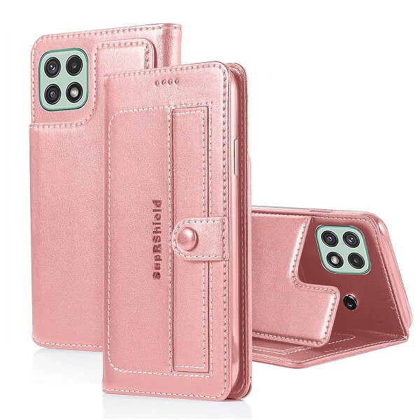 Samsung Galaxy A22 5G Wallet Case Flip Leather Card Slots Magnetic Stand Cover (Rose Gold Style 2)