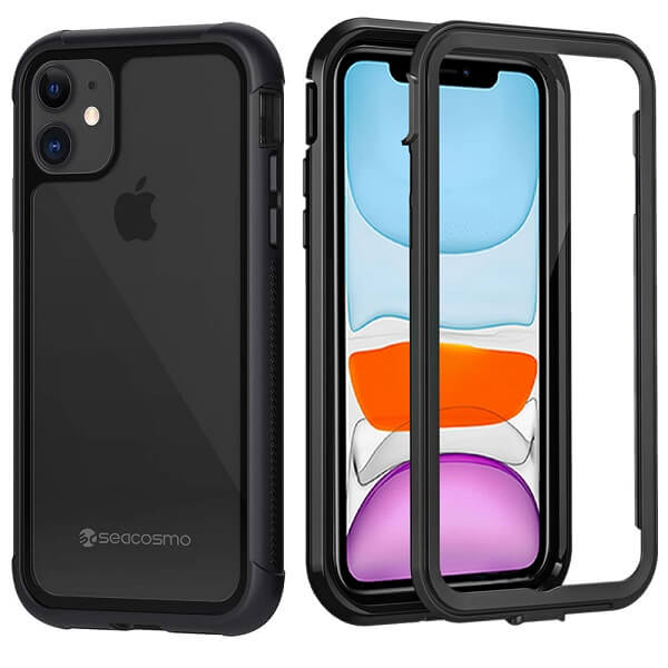 Apple iPhone 11 Military Grade Full Body Shockproof Clear Heavy Duty Case Bumper Drop Protection Tough Cover (Black)