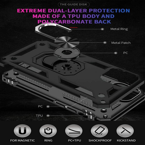 Apple iPhone 13 Pro Magnetic Ring Rugged Shockproof Case Heavy Duty Protective Back Cover (Black)
