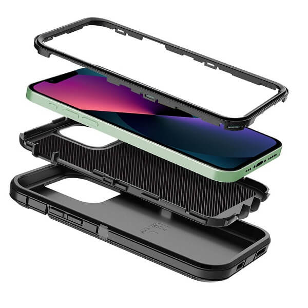 Apple iPhone 13 mini Case Drop Resistant Defender Tradies Heavy Duty Rugged Shockproof Tough Cover (Black)