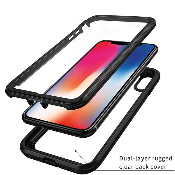 Apple iPhone XXS Military Grade Full Body Shockproof Clear Heavy Duty Case Bumper Drop Protection Tough Cover (Black)