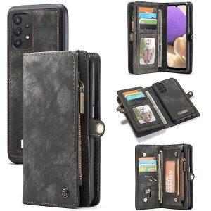 CaseMe For Samsung Galaxy A32 5G Zipper & Detachable Retro Leather Pouch Wallet Flip Purse Bag Detachable Phone Case Cover (Black)