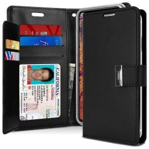 Goospery Apple iPhone XS Max Rich Diary Wallet Flip Case Leather Card Slots Magnetic Cover(Black) IPXSMAX-RIC-BLK