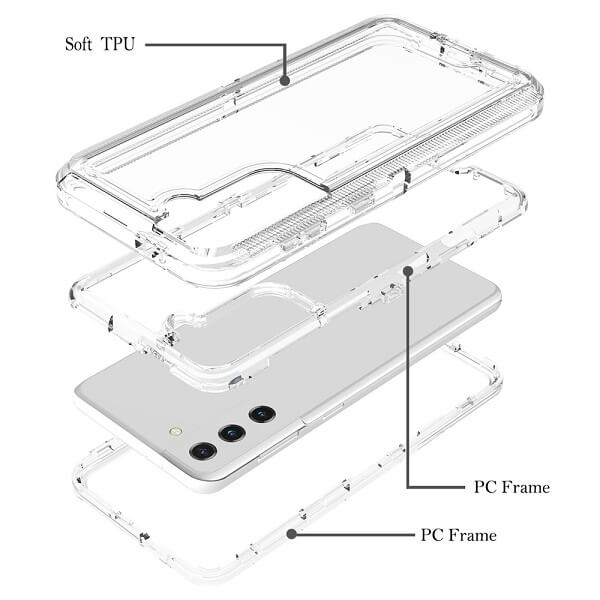Samsung Galaxy S21 Case Clear Drop Resistant Defender Tough Bumper Heavy Duty Shockproof Back Cover