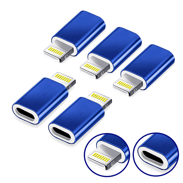 [5 Pack] USB 3.1 Type C Male to Micro USB Female Sync Cable Connector Adapter Converter (Blue)