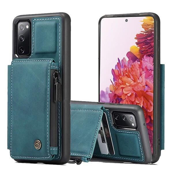 Samsung Galaxy S20 FE Teal Blue CaseMe Back Zipper Wallet Case