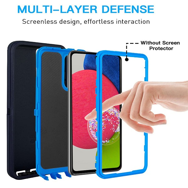 Samsung Galaxy A52s 5G Case Drop Resistant Defender Tradies Heavy Duty Rugged Shockproof Tough Cover (Navy BlueBlue)